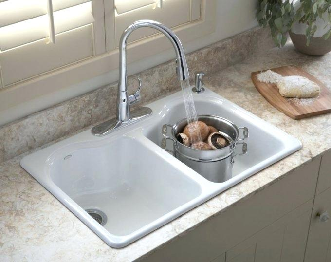 Kohler Porcelain Sink Awesome White Kitchen U Picture For Regarding Care